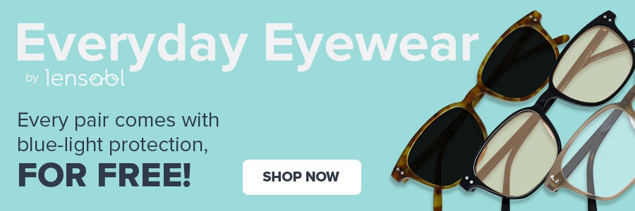 Shop Now button with Lensabl Everyday Eyewear frames and text